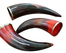 """Medieval 3 Pcs Red Dyed Polished Water Buffalo Horn Drinking Cup 6"""" - 8"""""""