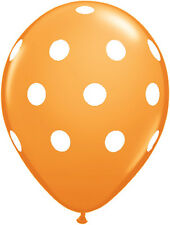 "10 pc - 11"" Qualatex Big Polka Dot Orange Latex Balloon Party Decoration Dots"