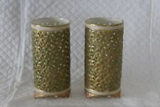 Pair Worcester Graingers Royal China Works 11cm Reticulated G 392 Spill Vase