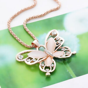 Gold Long Sweater Chain Butterfly Crystal CZ Pink Opalescent Pendant Necklace