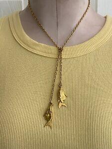 Vintage Gold-Tone Fish Pendant Necklace UNIQUE