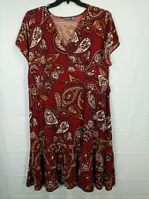 APT 9 Women's Plus Red Paisley Print Cap Sleeve V-neck Stretch Dress size 2X