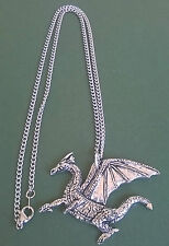 pewter pendant, dragon design, hand made in Cornwall, surgical steel chain
