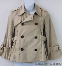 BCBG Double Breasted Peacoat Full Swing Bone/Tan Cotton Twill Copper Buttons Sm