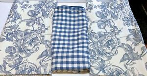 """2 Valance Blue Floral Toile 15"""" x 84""""  and  Checked Sham Waverly Garden Room"""
