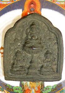 OLD BUDDHIST TSA TSA THREE BODHISATTVA FROM MONGOLIA.