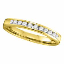 14kt Yellow Gold Womens Round Channel-set Diamond Single Row Wedding Band