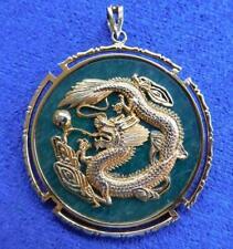 Superb Vintage Chinese Gold Dragon Jade Garnets Ruby & Opal Necklace Pendant