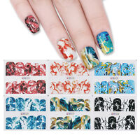 12 Muster Nail Wasser Decals Nail Art Maniküre Bunt Stickers Transfer Dekoration