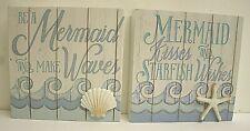 Set of 2 Mermaid kisses starfish wood Wall Decor Bath Beach Nautical Ocean 6x6