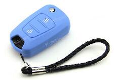 Silicone Case Cover Holder For Hyundai 2BT Flip Key Elantra Verna Solaris Blue