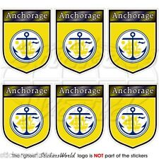 ANCHORAGE Alaska State USA Shield 40mm Mobile Cell Phone Mini Stickers-Decals x6