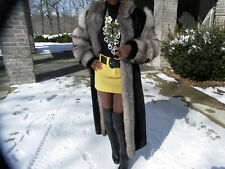 Crystal fox & black color F L Mink Fur Coat Jacket  S-M