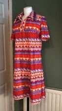 Vintage Retro St Michael Marks And Spencer Nylon Patterned Dress 8 10