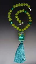 Sale! Bess Heitner Venetian Aqua Harlequin Silk Tassel Necklace