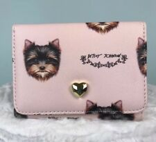 Betsey Johnson Yorkie Terrier Dog Pink Small Trifold Wallet NEW