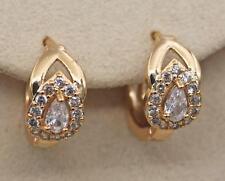 Topaz Zircon Hollow Lady Hoop Earrings 18K Gold Filled - 2-Layer Waterdrop Clear