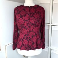 Laura Ashley Red Floral Blouse Size 12 - 14 Botanical Fitted Vintage Made In GB