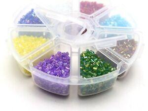 100 gram (6000pcs) Transparent AB Tube Bugle Glass Beads 2X2mm+Storage Box