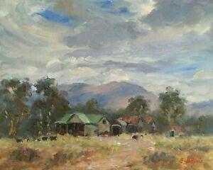 "Original Oil Painting Signed Australian Farm Outback Artist Enoch Hlisic 8 x 10"""