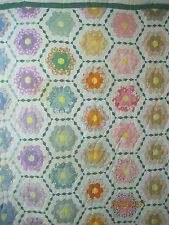 Vintage 1940's Quilt Grandmother's Flower Garden green & white border