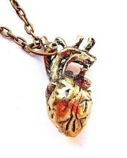 GOLD ANATOMIC HUMAN HEART PENDANT steampunk science necklace charm nurse F1