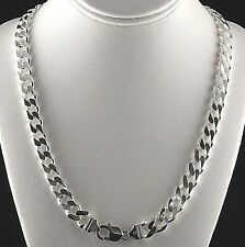 "Heavy 24"" 11mm Solid 925 Sterling Silver Cuban Link 6-Sided Curb Chain Men Italy"