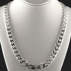 """11mm Solid 925 Sterling Silver Cuban Link Curb Chain 24"""" Mens Italy 111 grams"""