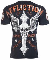 AFFLICTION Men T-Shirt LIVE FAST American Customs BLACK Motorcycle Biker $58