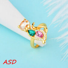 Cubic Zirconia Size 6 Ring Jewellry Cute Cat Gold Inlay Green Pink Drop