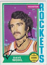 Dave Wohl Autographed 1974 Topps Basketball Card #108 Houston Rockets