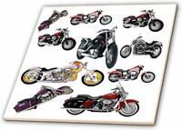 3dRose ct_ 5730_4 Tile Picturing Harley-Davidson No.174 Motorcycles