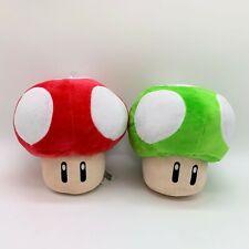 """2X Super Mario Bros Plush Red Green Super Mushroom Soft Toy Doll Teddy 8"""""""