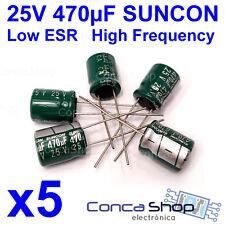 5 x CONDENSADOR ELECTROLITICO SUNCON 25V 470uF 105º CA LOW ESR BAJA IMPEDANCIA