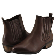 Women's Shoes Bamboo Sadie 01 Slip On Ankle Booties Brown BNH *New*