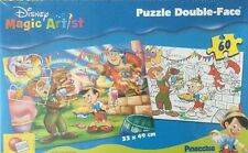 JIGSAW PUZZLE 60 PIECES DOUBLE-FACED DISNEY MAGIC ARTIST PINOCCHIO NEW/SEALED