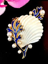 RARE CROWN TRIFARI SAPPHIRE FAUX PEARL UNDER THE SEA SHELL SEAWEED BROOCH BOOK