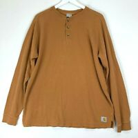 Carhartt Men's L 100% Cotton Tan Brown Henley Long Sleeve Work Shirt Waffle Knit