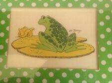 vintage 70's print frog on lily pod Bob Mesrop polka dot mat yellow wood frame