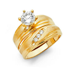 His Hers Wedding Trio Set Ring Band Solid 14k Yellow Real Gold Cz Solitaire