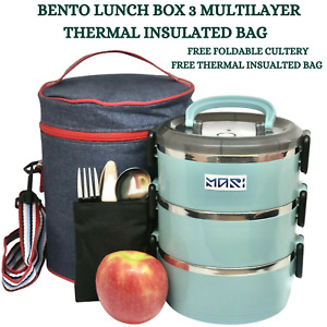 Bento Lunch Box 3 Layer Stainless Steel Thermal Insulated Food Storage Container