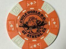 Harley Poker Chip    CYCLE WORLD HD    ATHENS, GA     ORANGE    Bulldog