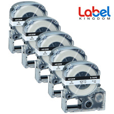 5PK Compatible for Epson SS12KW LK-4WBN LW-300 Black on White Label Tape 12mm...