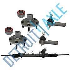 Kit 5 Pieces:  Rack and Pinion + 2 NEW Wheel Hub and Bearing + 2 Outer Tie Rods
