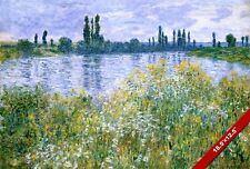 BANKS OF SEINE RIVER FRANCE CLAUDE MONET PAINTING ART LARGE REAL CANVAS PRINT