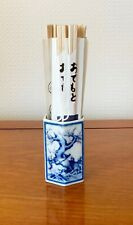 VINTAGE CHINESE PORCELAIN CHOPSTICK PEN BRUSH HOLDER BLUE AND WHITE 3 INS TALL