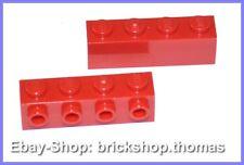 Lego 2 x Steine mit Noppen 1x4x1 rot - 30414 - Basic Bricks Red - NEU / NEW