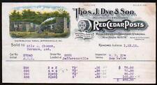 1912 Kokomo In - Red Cedar Posts - Thos J Dye & Son Vintage Letter Head Rare