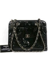 Auth CHANEL Black Patent Leather CC Charm Zip Top Chain Shopper Tote Bag Vintage