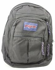 Jansport Black Nylon Canvas School Large Backpack Knapsack Daypack Bag Zippered